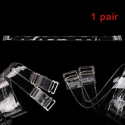 One Pair Transparent Clear Bra Straps Invisible Adjustable Detachable Metal Hook