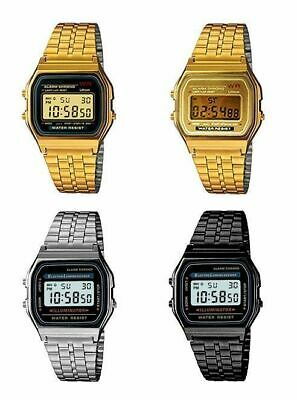 Casio Digital Watch Classic Vintage Retro Stainless Steel Rubber Band Alarm Stop