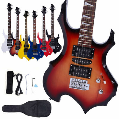 New 5 Colors Flame Type Beginner Electric Guitar +Bag Case +Cable +Strap +Picks