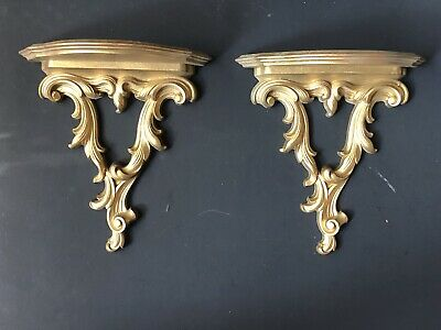 Pair Lg Vintage SYROCO WOOD Gold Wall Sconces Shelves Antique Hollywood Regency