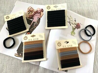 HAIR TIES THICK SOFT ELASTIC SPANDEX 10PC HAIR BANDS SCHOOL GIRLS and ADULTS