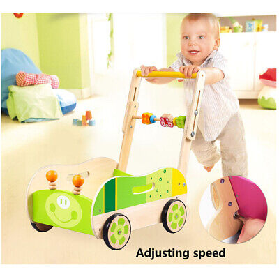Wooden Baby Walker Toddler Kid Push Activity Colourful Toys