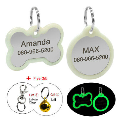 Personalised Dog Cat Tags & Glow Silencer Protect Pet Round / Bone Engraved Tags