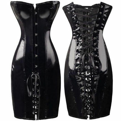 Hot Womens Wet Look Lace Up Body Shaper Overbust PVC Slimming Corset Mini Dress