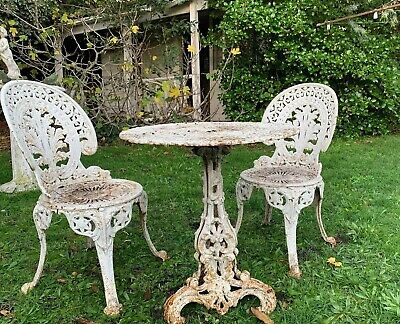 Antique Cast Iron White Table And Chairs. Victorian.