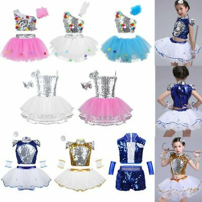 2bff00bb64b GIRLS BOYS MODERN Jazz Hip Hop Dance Costume Kids Street Dancing ...