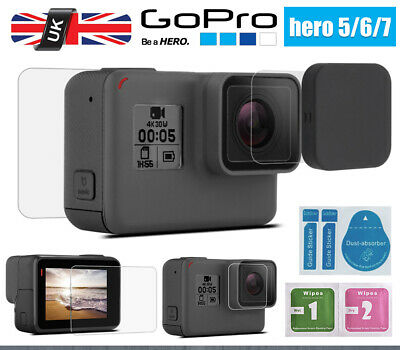 LCD Screen Lens Cap + Tempered Glass Screen Protector For GoPro Hero 5 6 7 UK