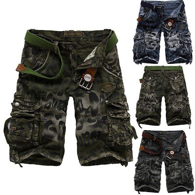 New Mens Cargo Hot Shorts Pants Combat Camo Army Long Crosshatch Military Shorts