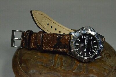 Correa Reloj 22 20 18 Mm Genuina Piel Python Marron Ma Strap Handmade Band