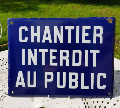 Vintage French Classic Blue & White Enamel Advertising Sign Industrial Wall Art