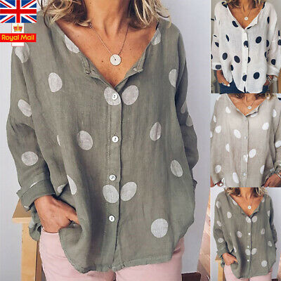 Size 10-20 Women Polka Dot T-Shirt Ladies Baggy Loose V Neck Casual Blouse Top