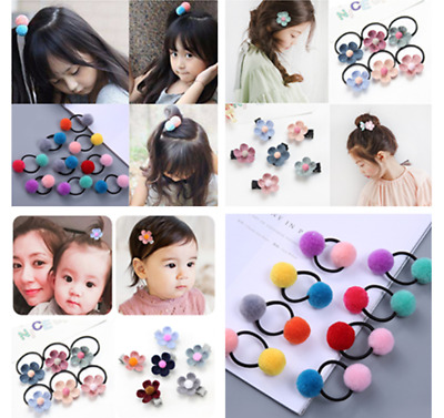 5pcs Girls Elastic Rope Hair Ties Flower Pom Ball Head Band Hairbands Hairpin
