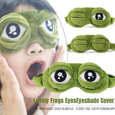 Lovely Frog Sad frog 3D Eye Mask Cover Sleeping Funny Eyepatch Rest Cute Toy lo
