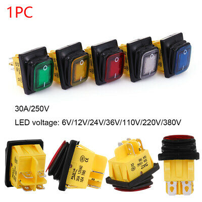 LED 6V/12V/24V/36V/110V/220V/380V DPST 4 pin ON-OFF T85 Toggle Rocker Switch New