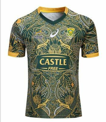 New Men 2019 South Africa Springboks Sevens 100 Anniversary Edition Rugby Jersey