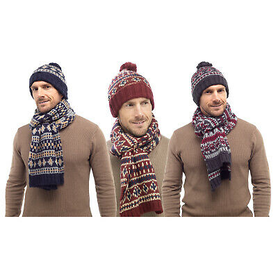 Tom Franks Men's Knitted Warm Winter Bobble Beanie Hat & Scarf Snood Neck Warmer