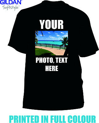 Personalised Black T-shirt Custom Photo Your Image Printed Stag Hen T-shirt