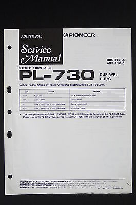PIONEER PL-730 Original Stereo Turntable Additional Service-Manual/Diagram o25