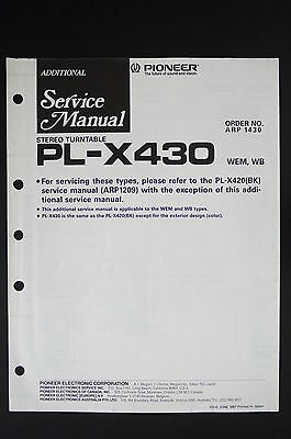 PIONEER PL-X430 Original Stereo Turntable Additional Service-Manual/Diagram o117