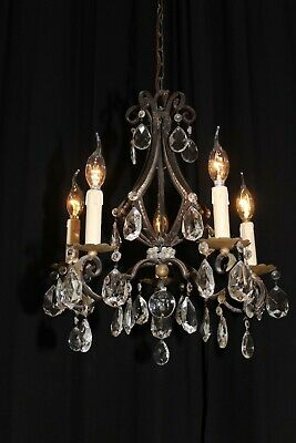 Vintage French wrought iron Arts and Craft beaded crystal chandelier France