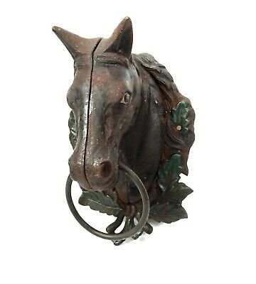Antique Cast Iron Figural Horse Tether Ring / Towel Hook / Rail / 19th Century