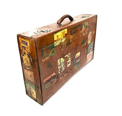 Antique Leather European Suitcase / Trunk With Numerous Vintage Travel Stickers
