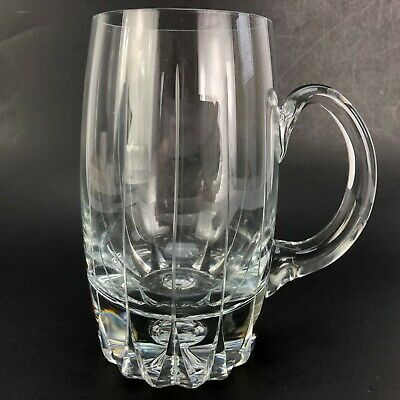 "VTG Cut CRYSTAL Glass Beer Tankard Mug Stein Exquisite Handled Lrg 6"" tall x 5.5"