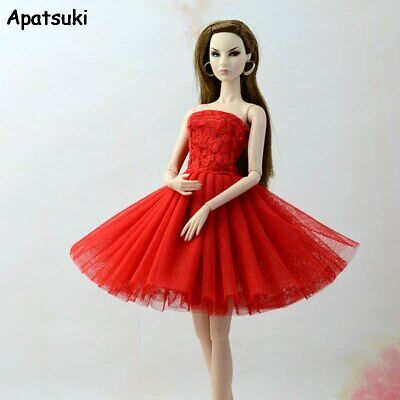 Red Summer Dress Fashion Doll Clothes For Barbie Doll Dresses Outfits 1/6 Toy
