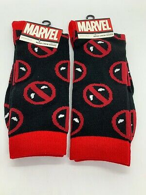 Two Pairs of Deadpool Crew Socks Mens Size 10-13 Marvel Shoe Size 6-12