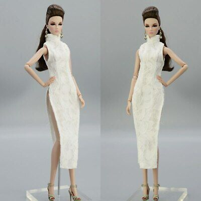 White Lace Fashion Girl Doll Clothes For Barbie Doll Dress Chinese Dress Qipao