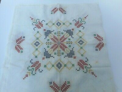"""Vintage 9 Stamped Cross Stitch 18"""" Quilt Squares Almost Finished"""