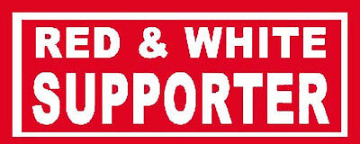 Red And White Supporter   Biker  1960's Vintage Looking Travel Sticker Decal