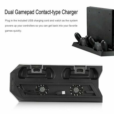 Vertical Charger Dock Station for PS4 Slim/Pro Stand Controller Cooling Fan UI