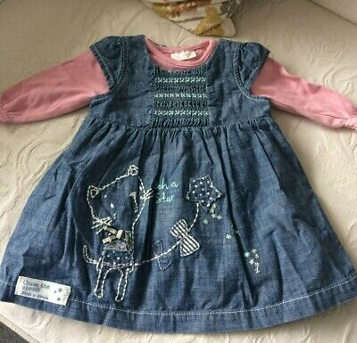 NEXT NAVY BLUE DENIM PINAFORE CAT DRESS & BODYSUIT baby girl 0-3 clothes