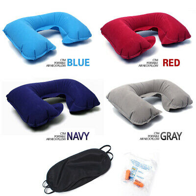 Head Neck Rest Pillow Air Cushion Inflatable Support Ear Plug Eye Mask Travel