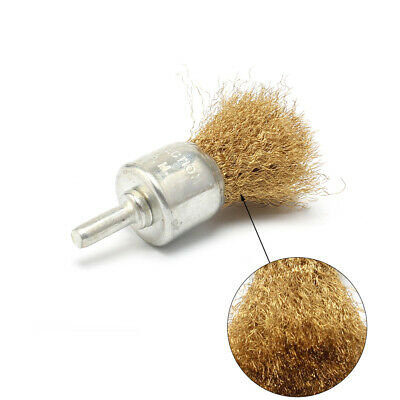 "5Pcs 1"" Copper Wire Pen Brush Wheel With 6mm Shank For Grinding Metal Surface"