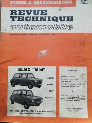Revue technique BLMC MINI COOPER MORRIS 850 1000 1275 GT RILEY WOSELEY RTA 1972