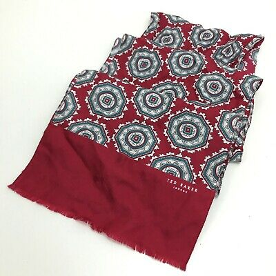 TED BAKER Red Blue PATTERNED Silk Scarf Womens  SU100198