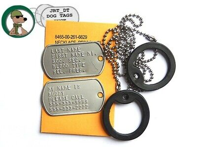 Genuine USGI Military Dog Tags Embossed VN KO GW Chains Silencers Personalized G