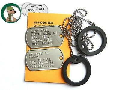 Genuine USGI Military Dog Tags Embossed With Chains & Silencers Personalized RH