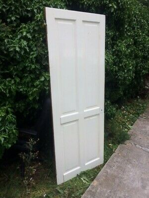 Victorian/Edwardian  Solid wood internal door  (used) one side painted white,