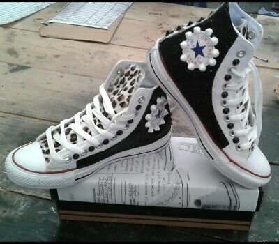 Converse all Star White with Glitter Black More Rocking Horse Spotted & Studs