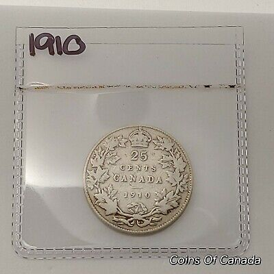 1910 Canada Silver 25 Cents Coin - Sealed In Acid-Free Package #coinsofcanada