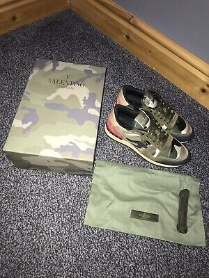 2cb28a623c150 Valentino Garavani Rockstud Runner Camo Trainers 37 UK 4 Authentic Leather  £555