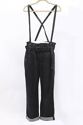 NWT$1695 Brunello Cucinelli Women WideLeg Jean W/Detachable Bead Suspenders A186