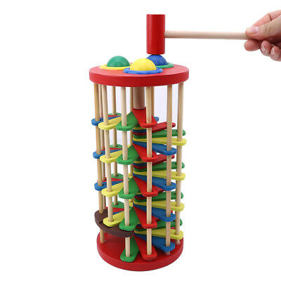 Pound and Roll Wooden Tower with Hammer, Development Wooden Toys IT