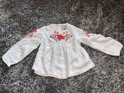 Immaculate - Zara Girls Rose Blouse - White & Red Age 5 Years