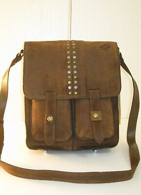 Patricia Nash Armeno Cognac Brown Burnished Suede Crossbody Messenger Bag $229