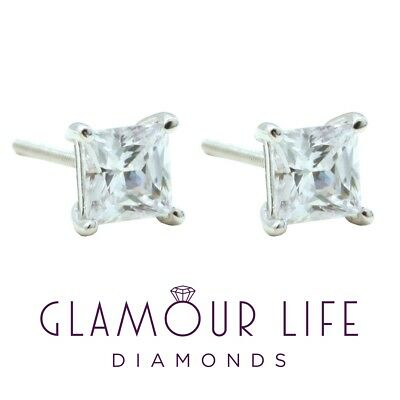 4 Ct Princess Earrings Studs Brilliant Cut Screwback Solid 14K White Gold