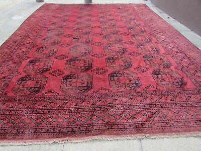 Worn Old Hand Made Traditional Afghan Wool Red Brown Large Carpet 427x320cm